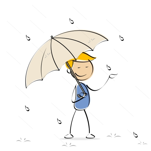 vector kid enjoying rain
