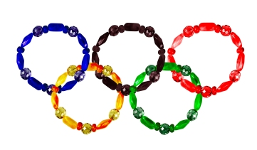 Five bracelets lined combined Olympic rings. collage